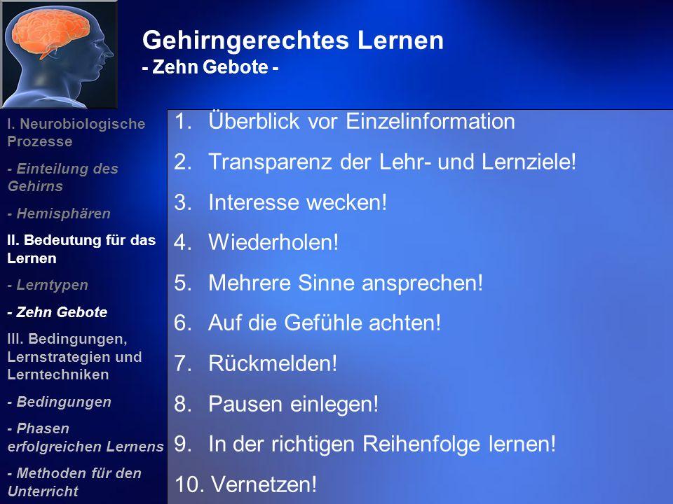 Gehirngerechtes Lernen - Zehn Gebote - 1. Überblick vor Einzelinformation 2. Transparenz der Lehr- und Lernziele! 3. Interesse wecken! 4. Wiederholen!