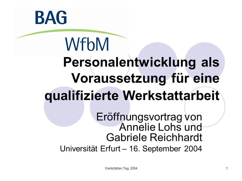 Werkstätten:Tag 20041 Personalentwicklung als Voraussetzung für eine qualifizierte Werkstattarbeit Eröffnungsvortrag von Annelie Lohs und Gabriele Rei