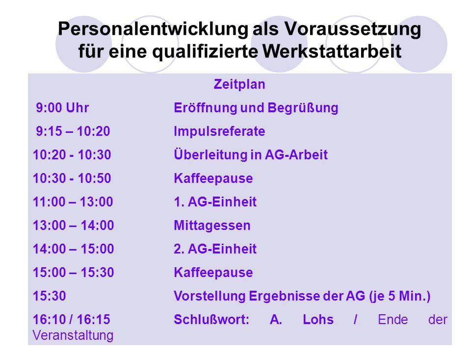 Werkstätten:Tag 200411 Personalentwicklung als Voraussetzung für eine qualifizierte Werkstattarbeit Zeitplan 9:00 UhrEröffnung und Begrüßung 9:15 – 10