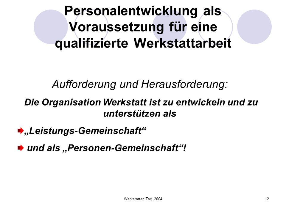 Werkstätten:Tag 200412 Personalentwicklung als Voraussetzung für eine qualifizierte Werkstattarbeit Aufforderung und Herausforderung: Die Organisation