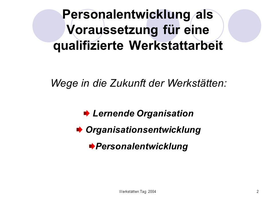 Werkstätten:Tag 20042 Personalentwicklung als Voraussetzung für eine qualifizierte Werkstattarbeit Wege in die Zukunft der Werkstätten: Lernende Organ