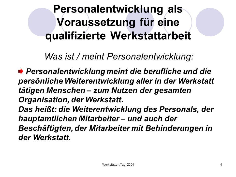 Werkstätten:Tag 20044 Personalentwicklung als Voraussetzung für eine qualifizierte Werkstattarbeit Was ist / meint Personalentwicklung: Personalentwic