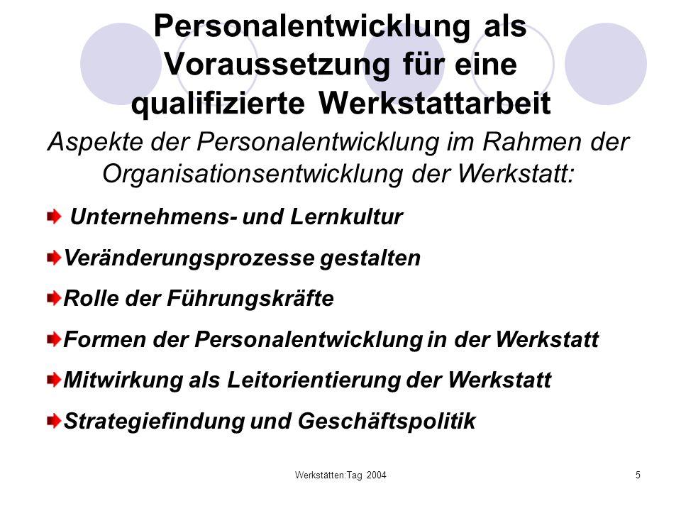 Werkstätten:Tag 20045 Personalentwicklung als Voraussetzung für eine qualifizierte Werkstattarbeit Aspekte der Personalentwicklung im Rahmen der Organ