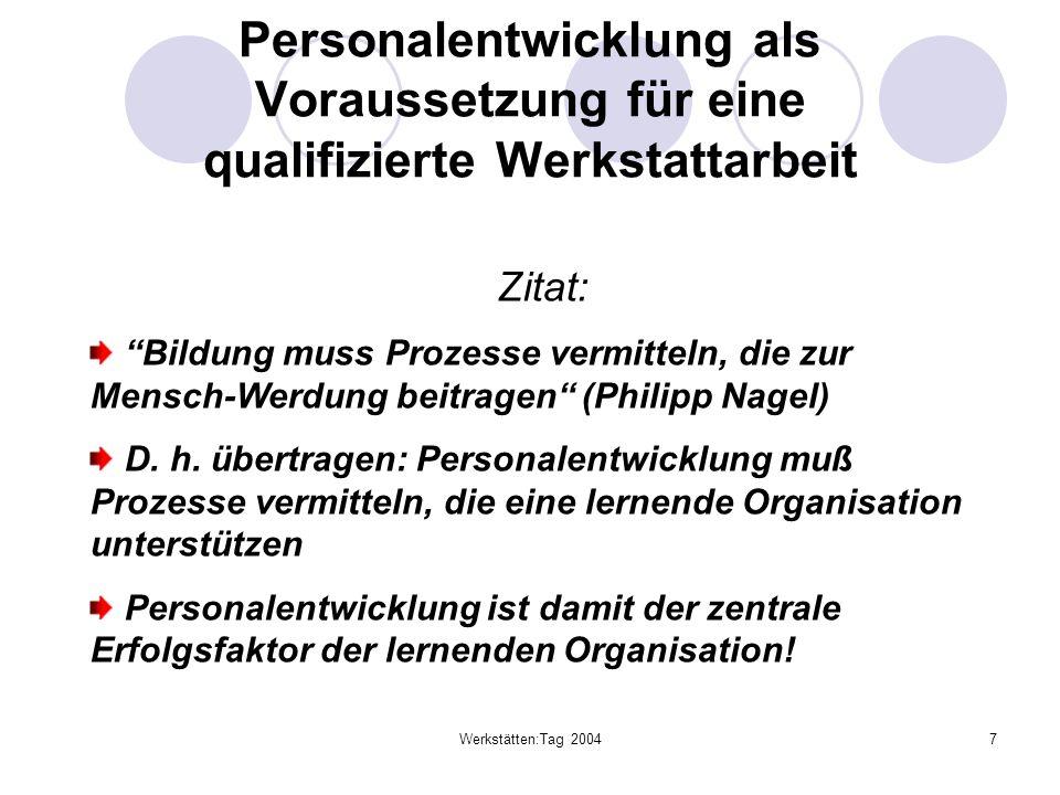 Werkstätten:Tag 20047 Personalentwicklung als Voraussetzung für eine qualifizierte Werkstattarbeit Zitat: Bildung muss Prozesse vermitteln, die zur Me