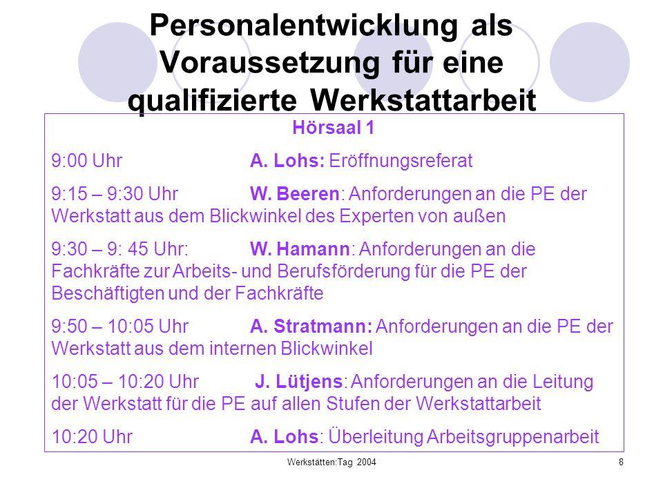 Werkstätten:Tag 20048 Personalentwicklung als Voraussetzung für eine qualifizierte Werkstattarbeit Hörsaal 1 9:00 Uhr A. Lohs: Eröffnungsreferat 9:15