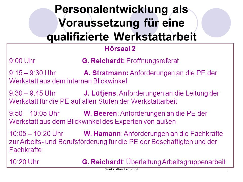 Werkstätten:Tag 20049 Personalentwicklung als Voraussetzung für eine qualifizierte Werkstattarbeit Hörsaal 2 9:00 UhrG. Reichardt: Eröffnungsreferat 9