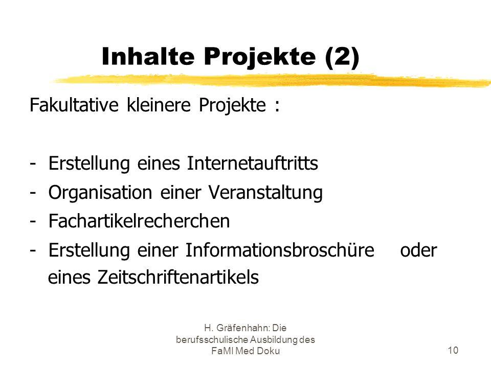 H. Gräfenhahn: Die berufsschulische Ausbildung des FaMI Med Doku10 Inhalte Projekte (2) Fakultative kleinere Projekte : - Erstellung eines Internetauf