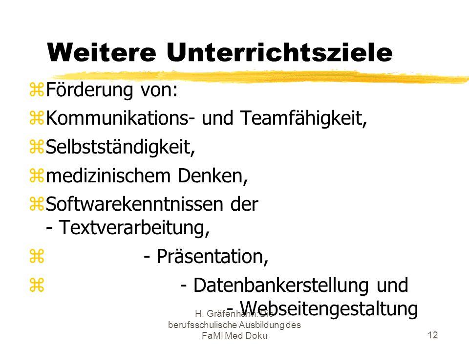 H. Gräfenhahn: Die berufsschulische Ausbildung des FaMI Med Doku12 Weitere Unterrichtsziele Förderung von: Kommunikations- und Teamfähigkeit, Selbstst