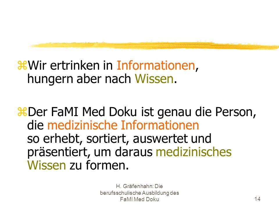 H. Gräfenhahn: Die berufsschulische Ausbildung des FaMI Med Doku14 Wir ertrinken in Informationen, hungern aber nach Wissen. Der FaMI Med Doku ist gen