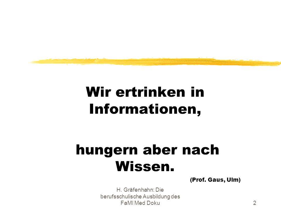 H. Gräfenhahn: Die berufsschulische Ausbildung des FaMI Med Doku2 Wir ertrinken in Informationen, hungern aber nach Wissen. (Prof. Gaus, Ulm)