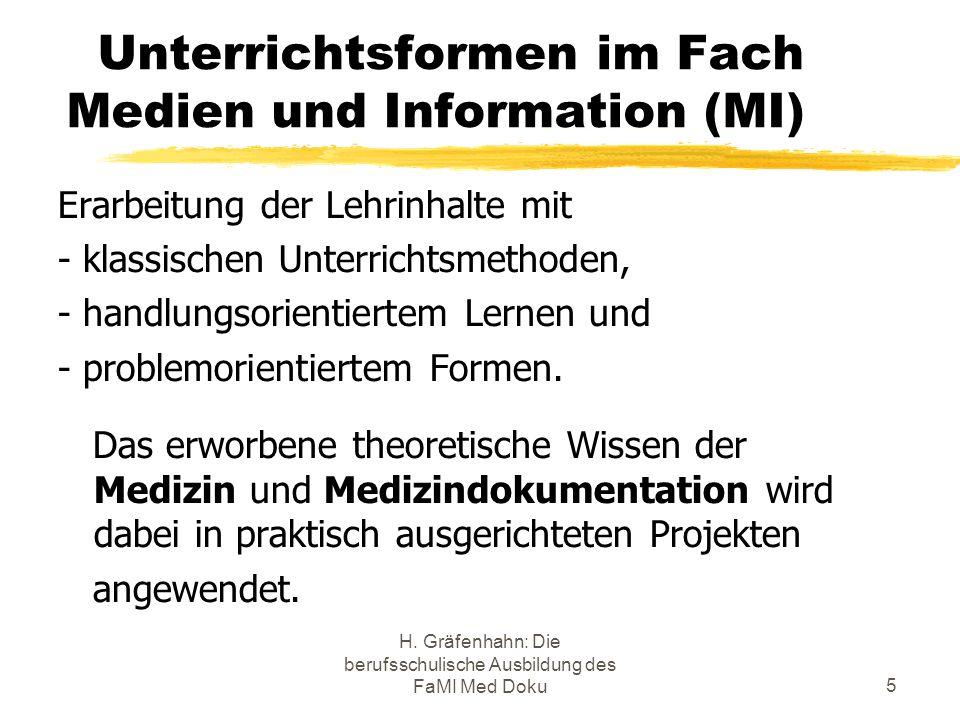 H. Gräfenhahn: Die berufsschulische Ausbildung des FaMI Med Doku5 Unterrichtsformen im Fach Medien und Information (MI) Erarbeitung der Lehrinhalte mi