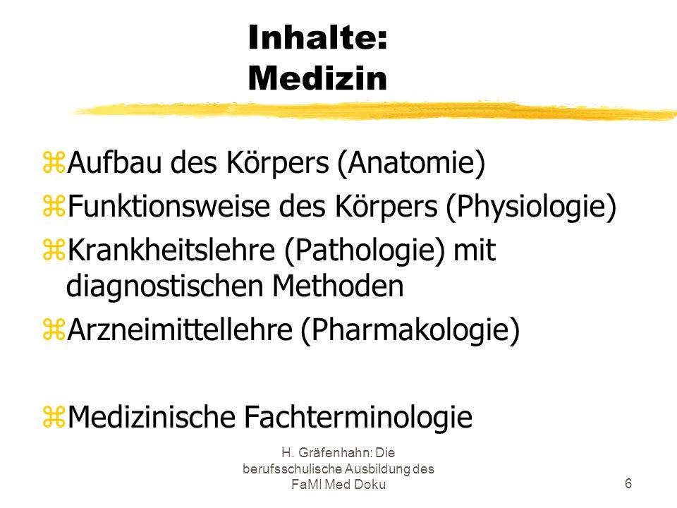 H. Gräfenhahn: Die berufsschulische Ausbildung des FaMI Med Doku6 Inhalte: Medizin Aufbau des Körpers (Anatomie) Funktionsweise des Körpers (Physiolog