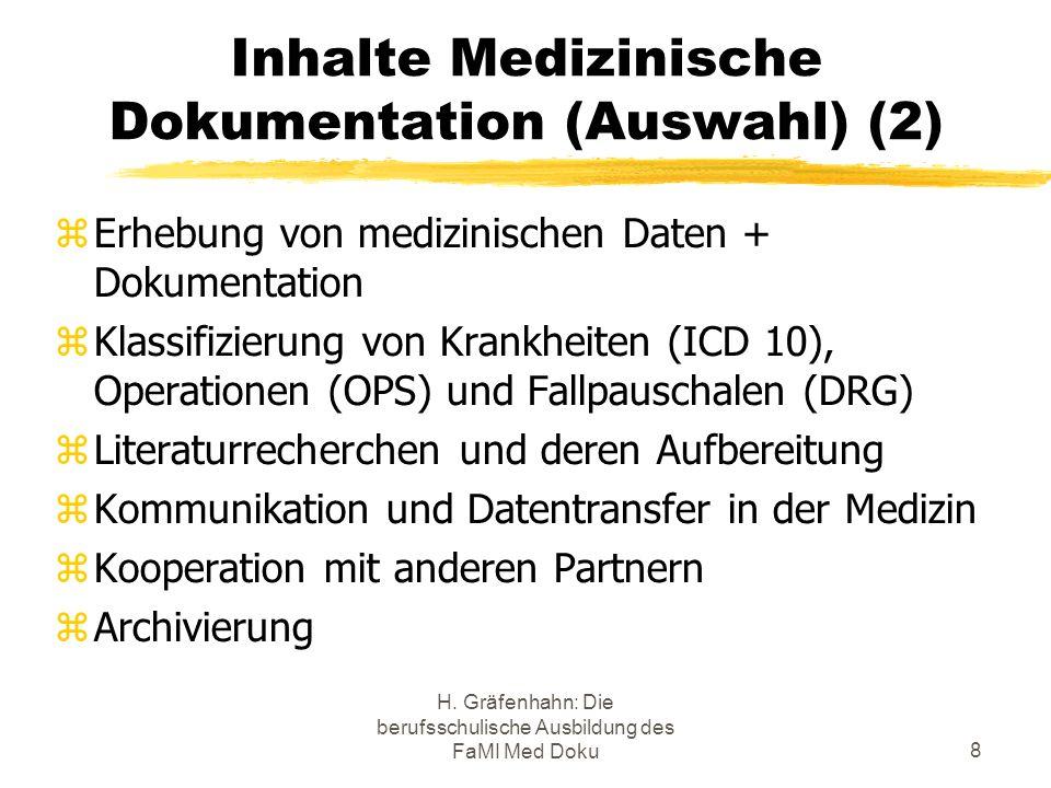 H. Gräfenhahn: Die berufsschulische Ausbildung des FaMI Med Doku8 Inhalte Medizinische Dokumentation (Auswahl) (2) Erhebung von medizinischen Daten +