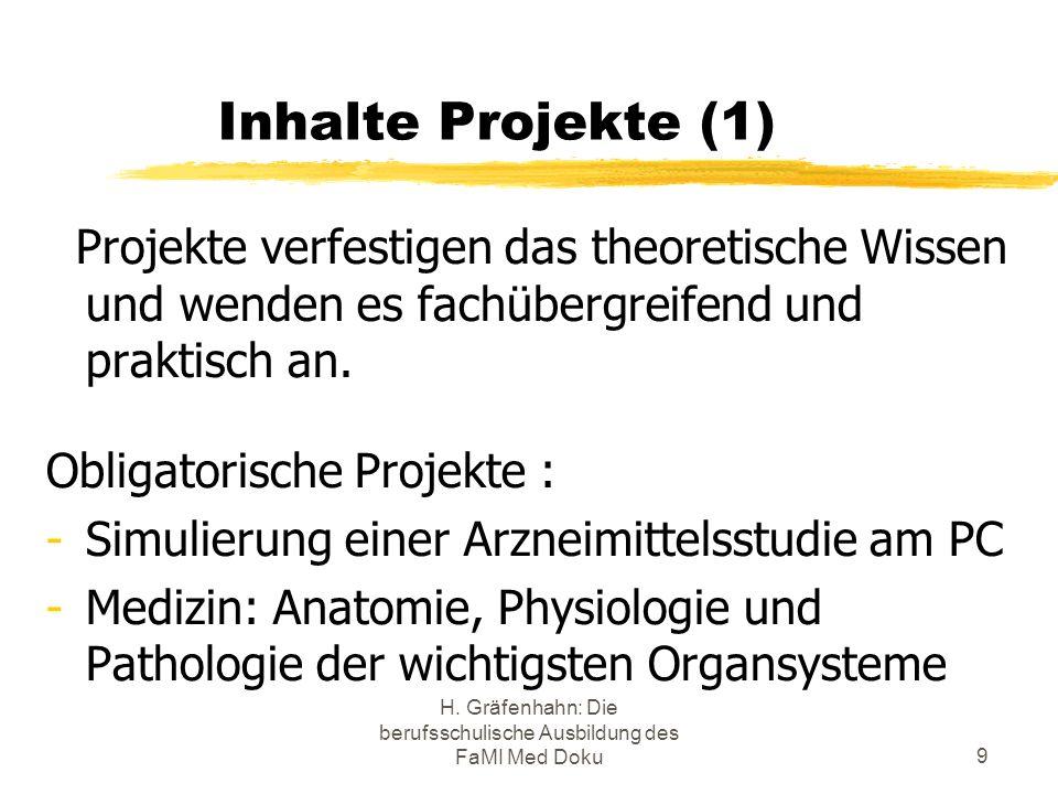 H. Gräfenhahn: Die berufsschulische Ausbildung des FaMI Med Doku9 Inhalte Projekte (1) Projekte verfestigen das theoretische Wissen und wenden es fach