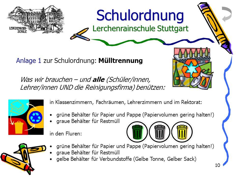Schulordnung Lerchenrainschule Stuttgart 10 in Klassenzimmern, Fachräumen, Lehrerzimmern und im Rektorat: grüne Behälter für Papier und Pappe (Papierv