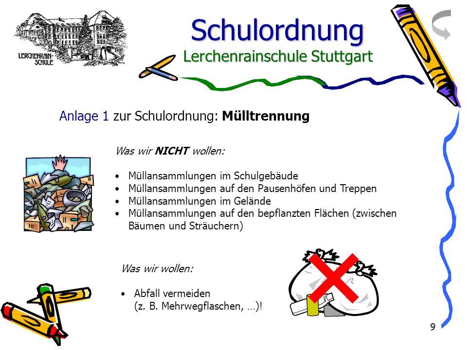 Schulordnung Lerchenrainschule Stuttgart 9 Was wir NICHT wollen: Müllansammlungen im Schulgebäude Müllansammlungen auf den Pausenhöfen und Treppen Mül