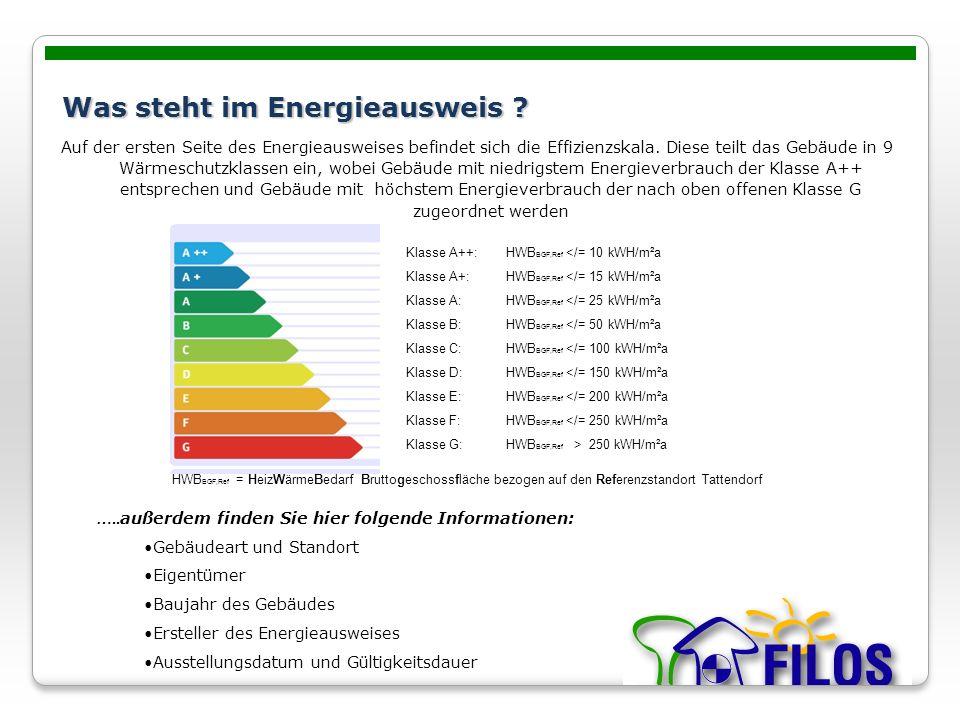 Was steht im Energieausweis ? Auf der ersten Seite des Energieausweises befindet sich die Effizienzskala. Diese teilt das Gebäude in 9 Wärmeschutzklas