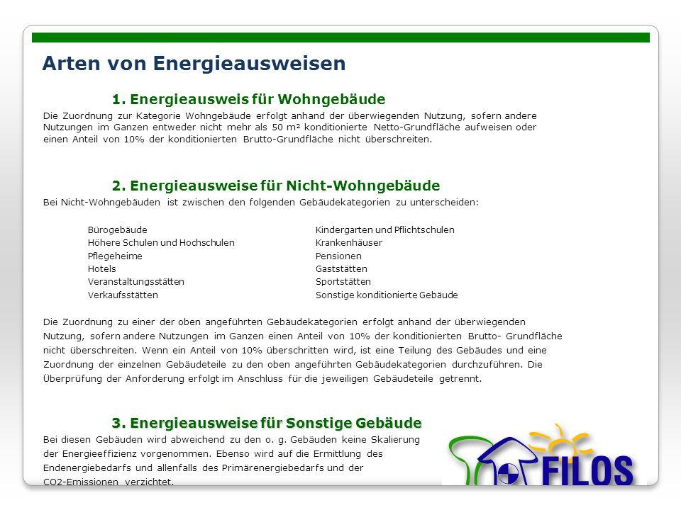 Arten von Energieausweisen 1. Energieausweis für Wohngebäude Die Zuordnung zur Kategorie Wohngebäude erfolgt anhand der überwiegenden Nutzung, sofern