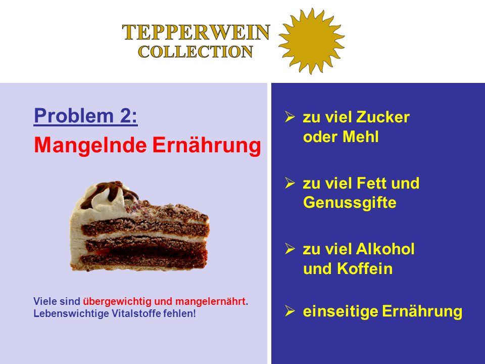 Problem 2: Mangelnde Ernährung zu viel Zucker oder Mehl zu viel Fett und Genussgifte zu viel Alkohol und Koffein einseitige Ernährung Viele sind übergewichtig und mangelernährt.