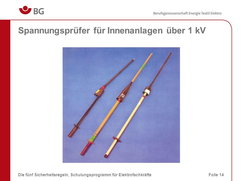 Spannungsprüfer für Innenanlagen über 1 kV Die fünf Sicherheitsregeln, Schulungsprogramm für ElektrofachkräfteFolie 14
