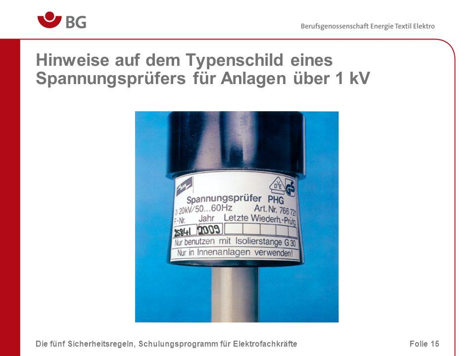 Hinweise auf dem Typenschild eines Spannungsprüfers für Anlagen über 1 kV Die fünf Sicherheitsregeln, Schulungsprogramm für ElektrofachkräfteFolie 15