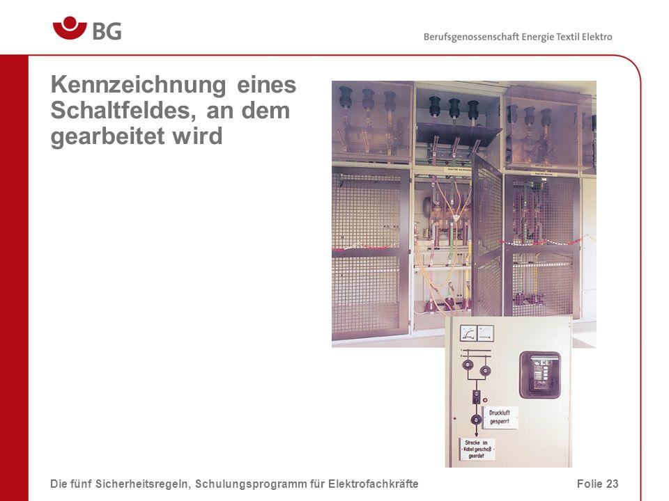 Kennzeichnung eines Schaltfeldes, an dem gearbeitet wird Die fünf Sicherheitsregeln, Schulungsprogramm für ElektrofachkräfteFolie 23