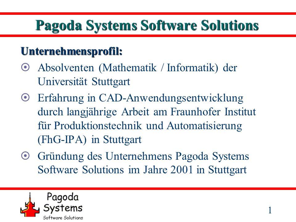 2 Pagoda Systems Software Solutions Unternehmensziele: Entwicklung anspruchsvoller Schlüsselkomponenten zur Integration in bestehende Software Erstellung von speziell auf den Anwender zugeschnittenen Stand-Alone-Applikationen Kompetenter Entwicklungspartner und Software- Anbieter für die 3D-Bereiche CAD, Reverse Engineering und Qualitätssicherung