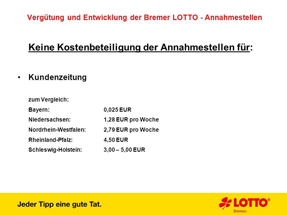 Vergütung und Entwicklung der Bremer LOTTO - Annahmestellen Keine Kostenbeteiligung der Annahmestellen für: Kundenzeitung zum Vergleich: Bayern:0,025