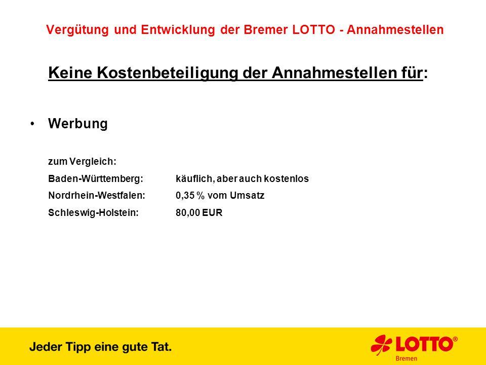 Vergütung und Entwicklung der Bremer LOTTO - Annahmestellen Keine Kostenbeteiligung der Annahmestellen für: Werbung zum Vergleich: Baden-Württemberg: