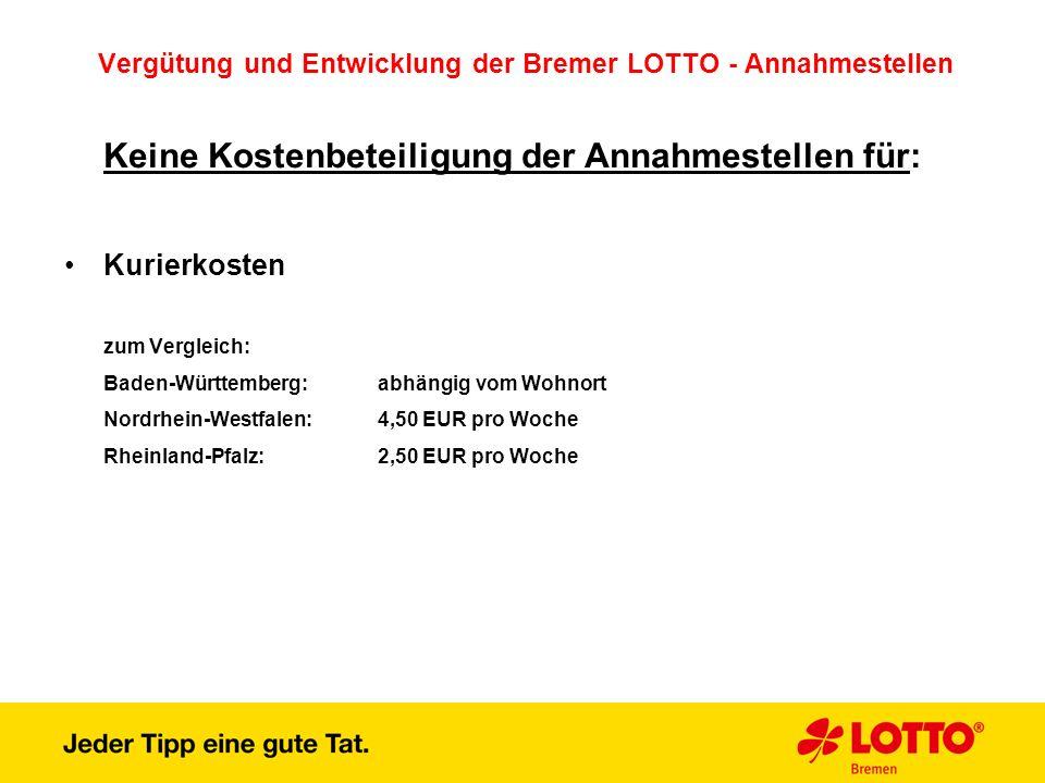 Vergütung und Entwicklung der Bremer LOTTO - Annahmestellen Keine Kostenbeteiligung der Annahmestellen für: Kurierkosten zum Vergleich: Baden-Württemb