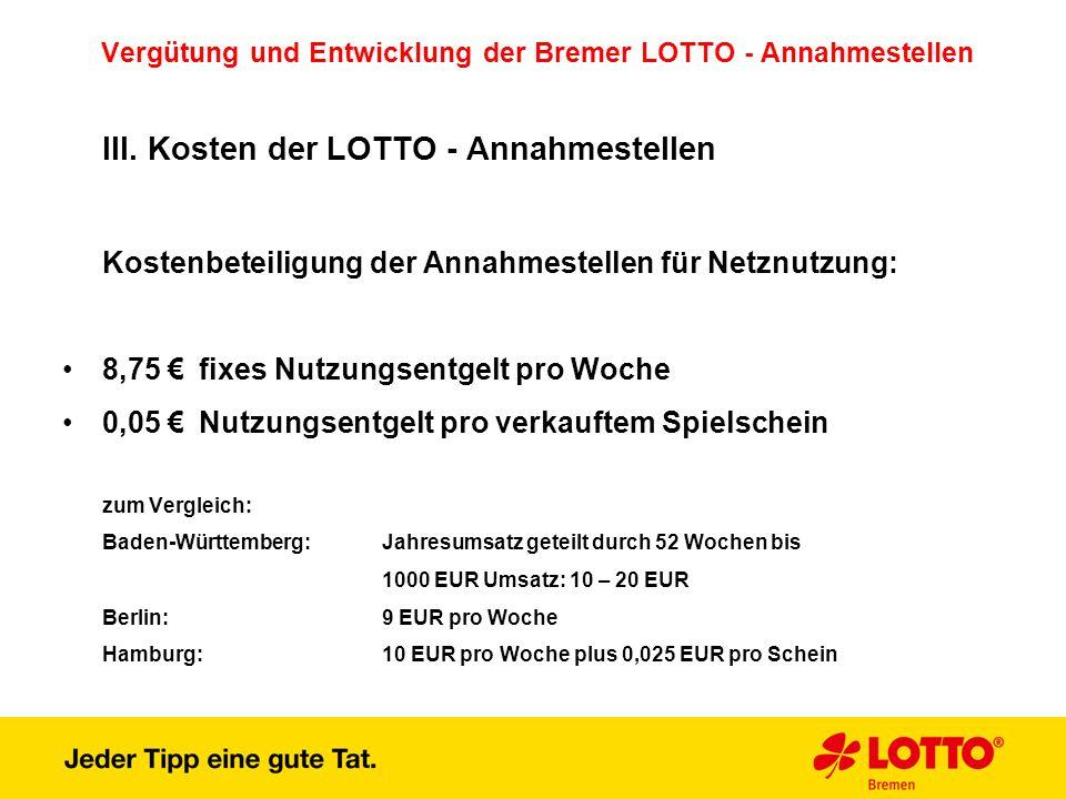Vergütung und Entwicklung der Bremer LOTTO - Annahmestellen III. Kosten der LOTTO - Annahmestellen Kostenbeteiligung der Annahmestellen für Netznutzun