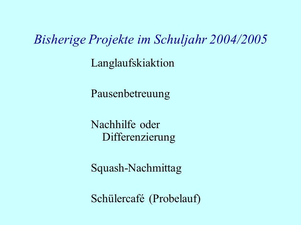 Bisherige Projekte im Schuljahr 2004/2005 Langlaufskiaktion Pausenbetreuung Nachhilfe oder Differenzierung Squash-Nachmittag Schülercafé (Probelauf)