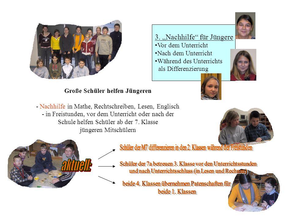3. Nachhilfe für Jüngere Vor dem Unterricht Nach dem Unterricht Während des Unterrichts als Differenzierung Große Schüler helfen Jüngeren - Nachhilfe
