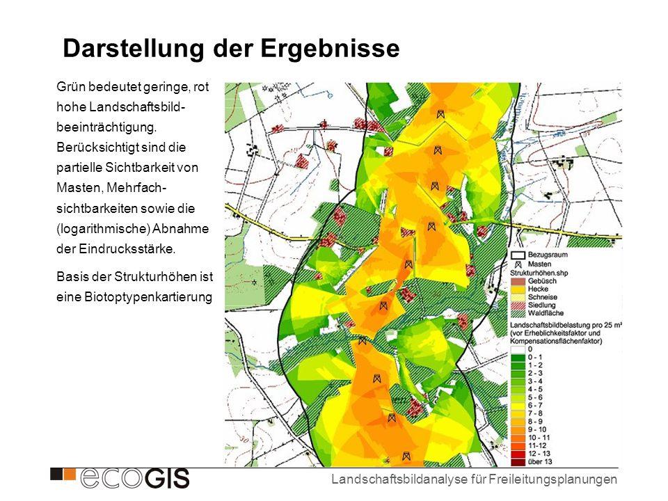 Landschaftsbildanalyse für Freileitungsplanungen Darstellung der Ergebnisse Grün bedeutet geringe, rot hohe Landschaftsbild- beeinträchtigung. Berücks