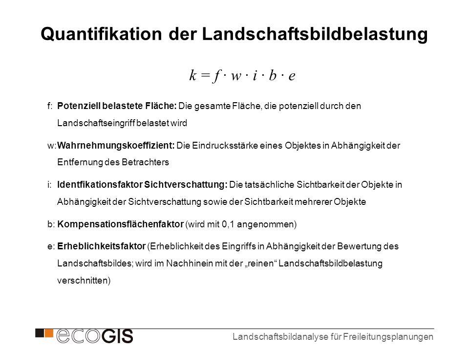 Landschaftsbildanalyse für Freileitungsplanungen k = f · w · i · b · e Quantifikation der Landschaftsbildbelastung f: Potenziell belastete Fläche: Die