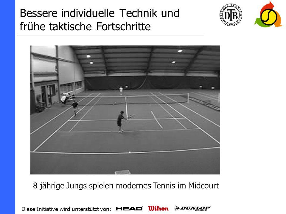 Diese Initiative wird unterstützt von: Bessere individuelle Technik und frühe taktische Fortschritte 8 jährige Spieler können auch am Netz mit Volleyspiel erfolgreich spielen!