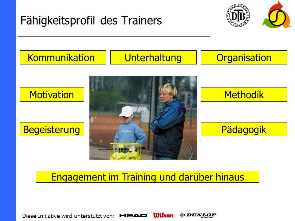 Diese Initiative wird unterstützt von: Umsetzung in Deutschland Logo Werbematerial (Flyer und Plakate) Internetauftritt www.tennisplayandstay.de Aufnahme in den (elektronischen) Lehrplan und somit in die Trainerausbildung Zusammenarbeit mit den DTB-Partnern der Sportartikelindustrie Vorstellung der Kampagne bei Kongressen, Tagungen und Mitgliederversammlungen