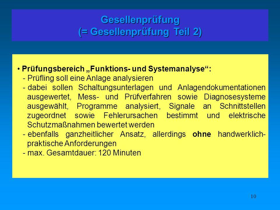 10 Gesellenprüfung (= Gesellenprüfung Teil 2) Prüfungsbereich Funktions- und Systemanalyse: - Prüfling soll eine Anlage analysieren - dabei sollen Sch