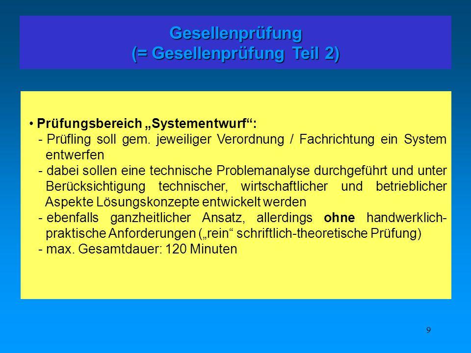 9 Gesellenprüfung (= Gesellenprüfung Teil 2) Prüfungsbereich Systementwurf: - Prüfling soll gem. jeweiliger Verordnung / Fachrichtung ein System entwe