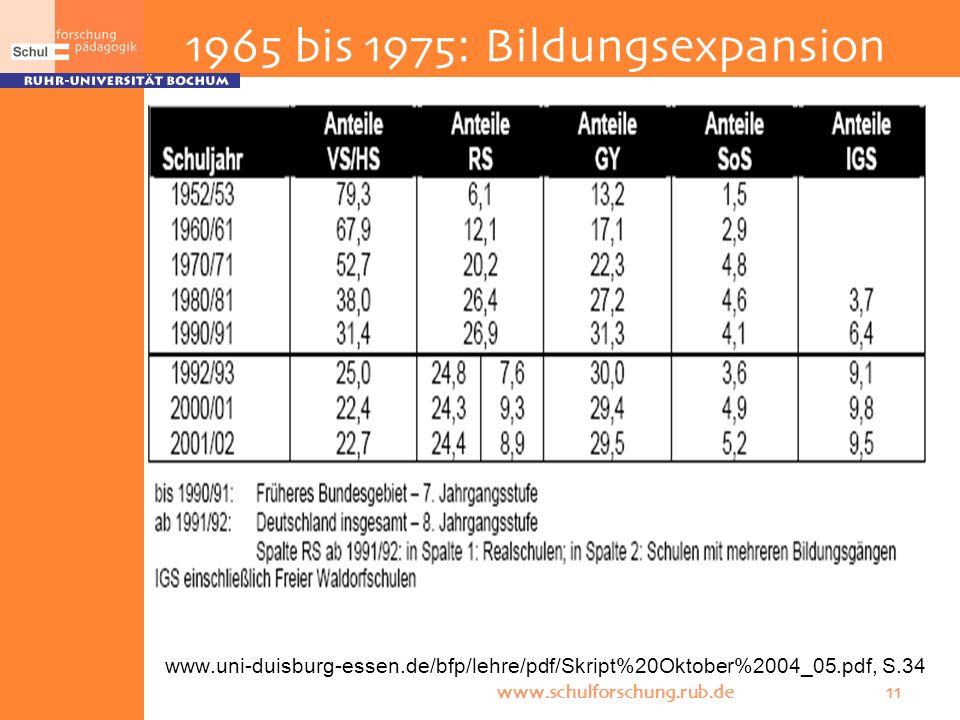 www.schulforschung.rub.de 11 www.uni-duisburg-essen.de/bfp/lehre/pdf/Skript%20Oktober%2004_05.pdf, S.34 1965 bis 1975: Bildungsexpansion