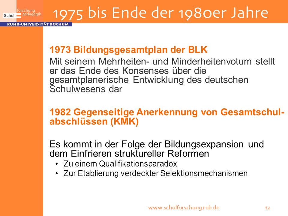 www.schulforschung.rub.de 12 1973 Bildungsgesamtplan der BLK Mit seinem Mehrheiten- und Minderheitenvotum stellt er das Ende des Konsenses über die ge