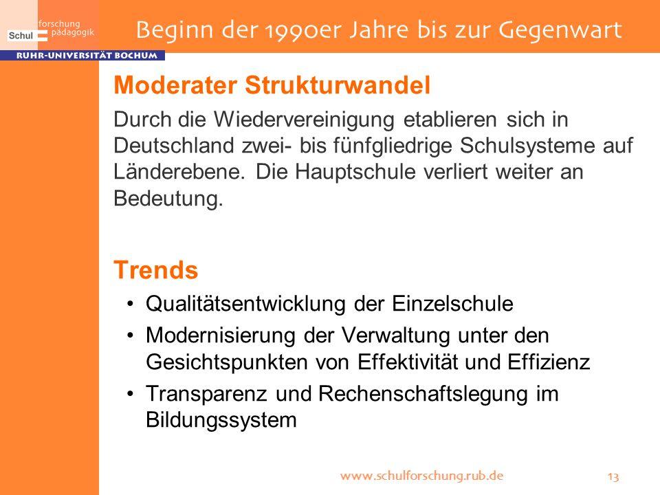 www.schulforschung.rub.de 13 Moderater Strukturwandel Durch die Wiedervereinigung etablieren sich in Deutschland zwei- bis fünfgliedrige Schulsysteme