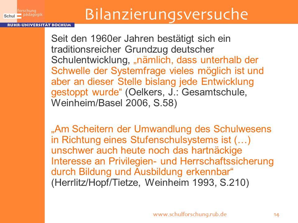 www.schulforschung.rub.de 14 Bilanzierungsversuche Seit den 1960er Jahren bestätigt sich ein traditionsreicher Grundzug deutscher Schulentwicklung, nä