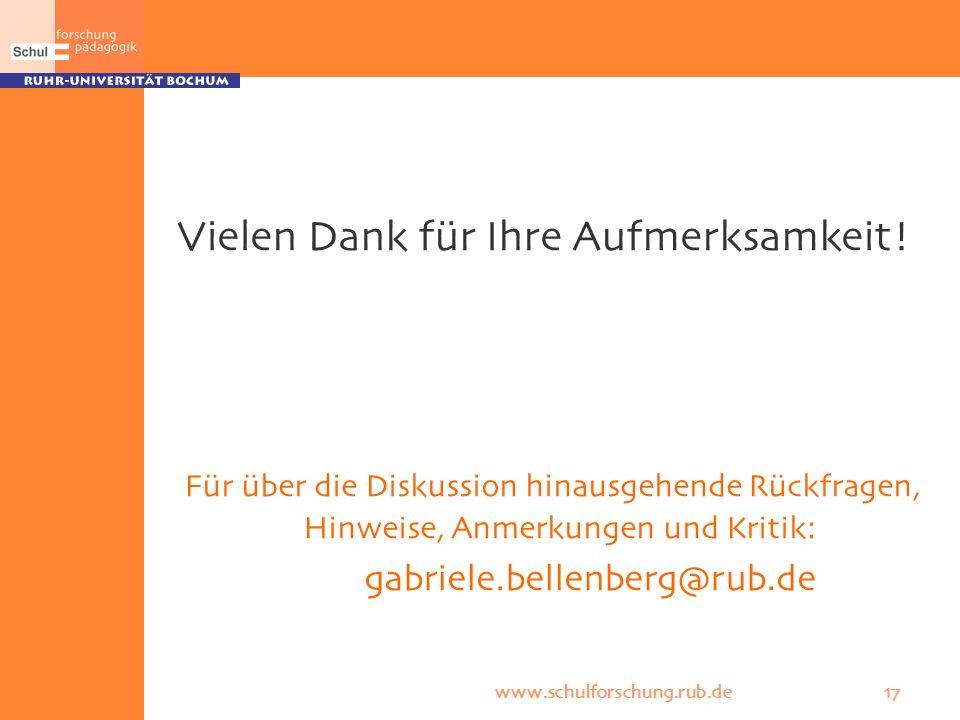 www.schulforschung.rub.de 17 Vielen Dank für Ihre Aufmerksamkeit! Für über die Diskussion hinausgehende Rückfragen, Hinweise, Anmerkungen und Kritik: