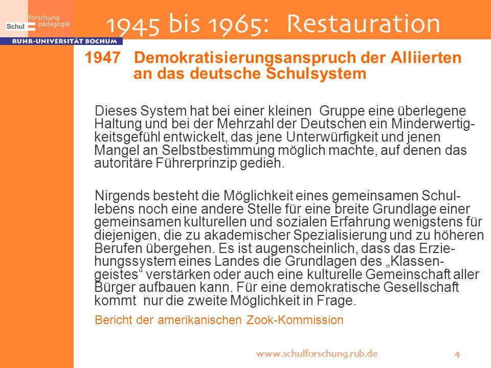 www.schulforschung.rub.de 4 1945 bis 1965: Restauration 1947 Demokratisierungsanspruch der Alliierten an das deutsche Schulsystem Dieses System hat be