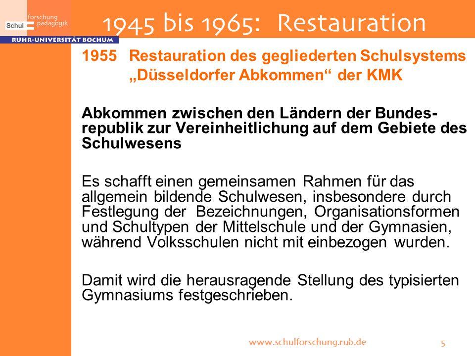 www.schulforschung.rub.de 5 1945 bis 1965: Restauration 1955 Restauration des gegliederten Schulsystems Düsseldorfer Abkommen der KMK Abkommen zwische