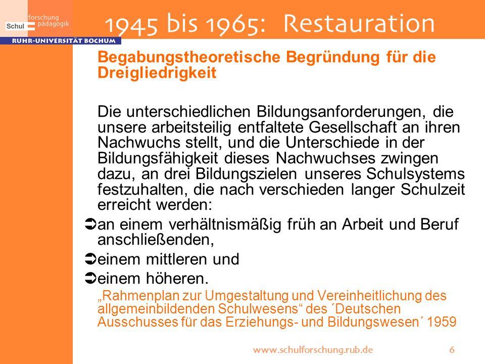 www.schulforschung.rub.de 6 1945 bis 1965: Restauration Begabungstheoretische Begründung für die Dreigliedrigkeit Die unterschiedlichen Bildungsanford