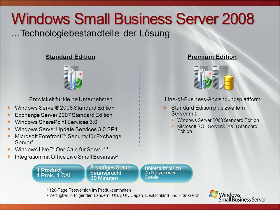 Windows Small Business Server 2008 Windows Small Business Server 2008 ist eine integrierte All-in-One Serverlösung, die Sie als kleines Unternehmen dabei unterstützt, Ihre Geschäftsdaten besser zu schützen und die Produktivität zu steigern.