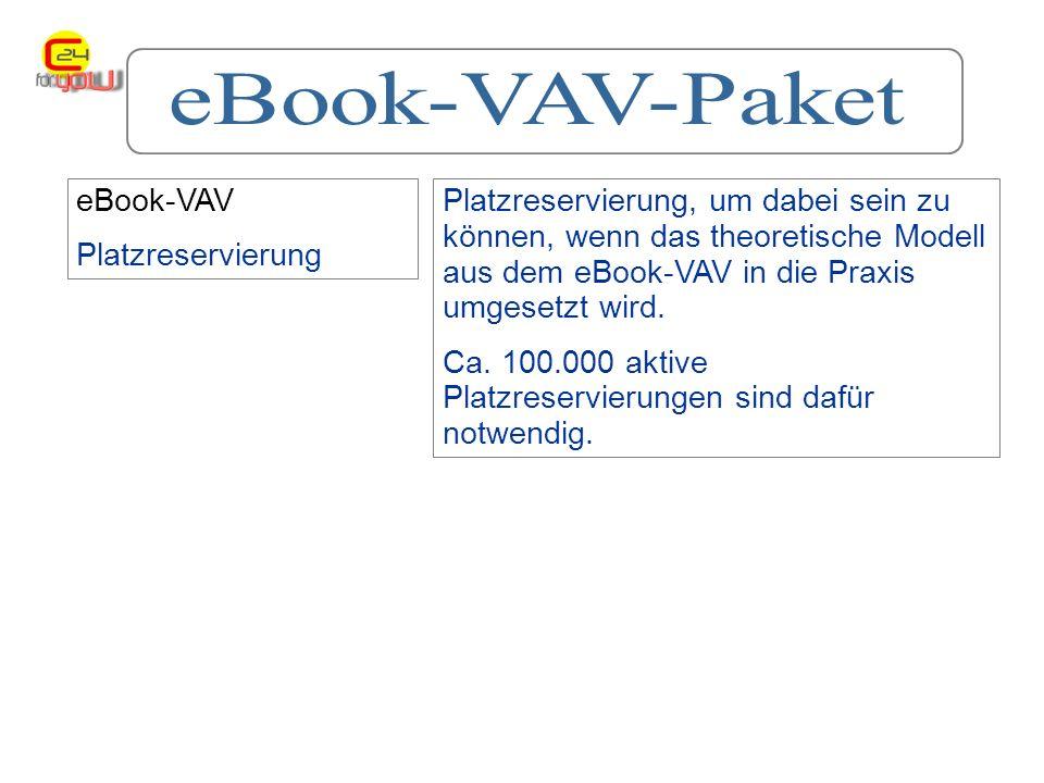 eBook-VAV Platzreservierung Platzreservierung, um dabei sein zu können, wenn das theoretische Modell aus dem eBook-VAV in die Praxis umgesetzt wird.