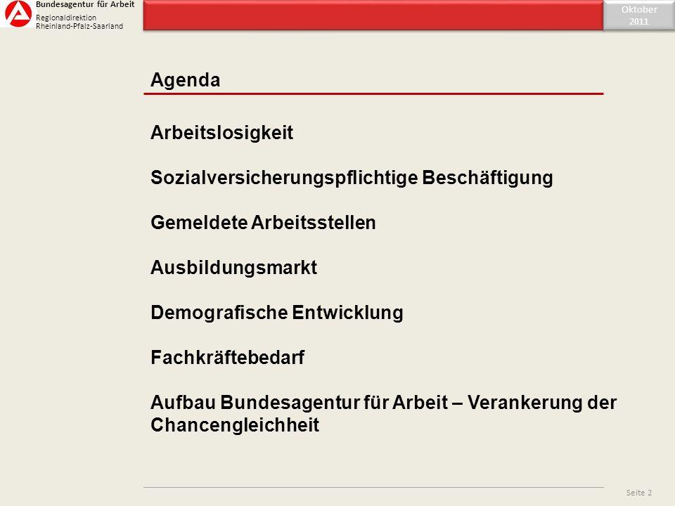 Inhaltsverzeichnis Agenda Oktober 2011 Oktober 2011 Seite 2 Arbeitslosigkeit Sozialversicherungspflichtige Beschäftigung Gemeldete Arbeitsstellen Ausb